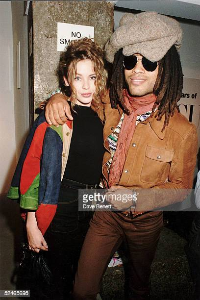 Singers Kylie Minogue and Lenny Kravitz at Vogue party on April 26 1995 in London England