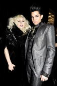 Singers Lady GaGa and Adam Lambert backstage at the 2009 American Music Awards at Nokia Theatre LA Live on November 22 2009 in Los Angeles California