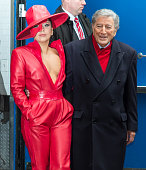 Singers Lady Gaga and Tony Bennett are seen leaving the 'Good Morning America' taping at the ABC Times Square Studios on December 3 2014 in New York...