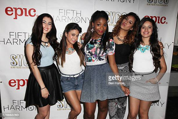 Singers Lauren Jauregui Ally Brooke Dinah Jane Hansen Normani Kordei and Camila Cabello of Fifth Harmony performs at Hollywood Highland Center on...