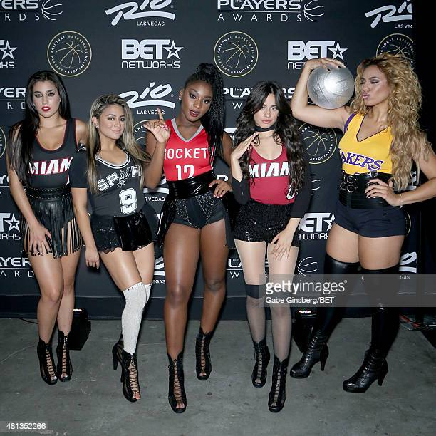 Singers Lauren Jauregui Ally Brooke Normani Kordei Camila Cabello and Dinah Jane Hansen of Fifth Harmony appear backstage during The Players' Awards...
