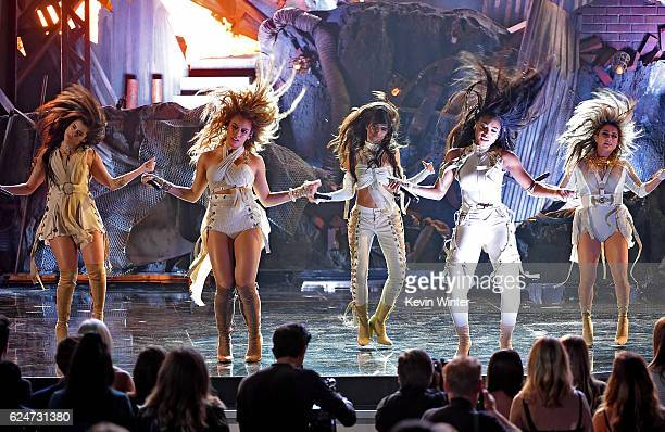 Singers Lauren Jauregui Camila Cabello Dinah Jane Hansen Normani Kordei and Ally Brooke of Fifth Harmony perform onstage during the 2016 American...