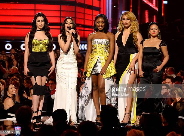 Singers Lauren Jauregui Camila Cabello Normani Hamilton Dinah Jane Hansen and Ally Brooke of Fifth Harmony speak onstage during the 2015 Billboard...