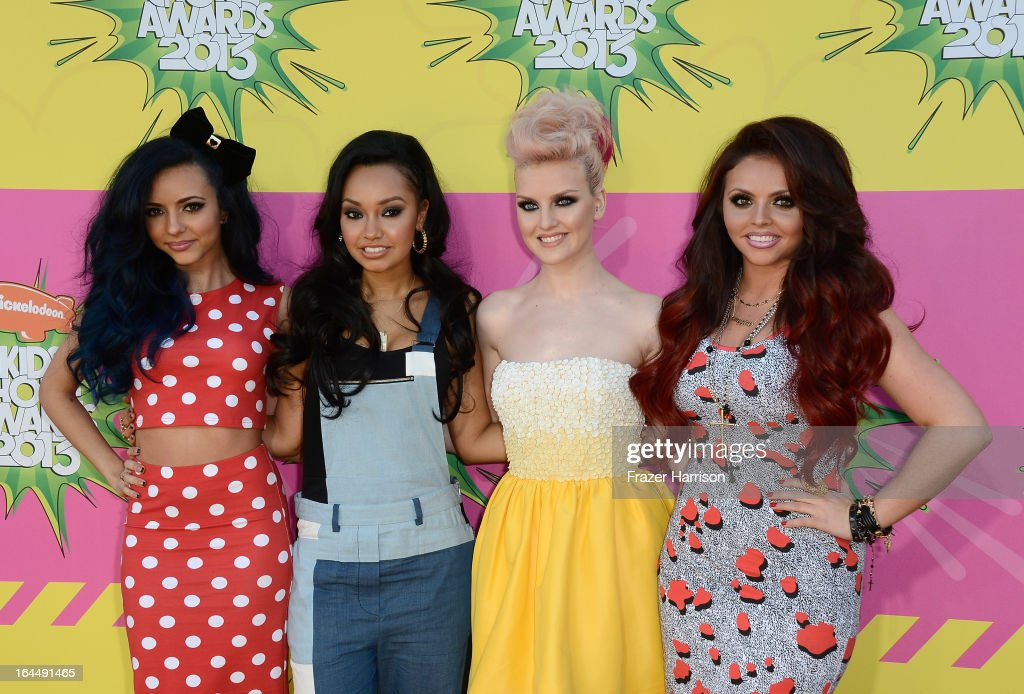 Singers Leigh-Anne Pinnock, Jade Thirlwall, Perrie Edwards and Jesy Nelson of Little Mix arrive at Nickelodeon's 26th Annual Kids' Choice Awards at USC Galen Center on March 23, 2013 in Los Angeles, California.