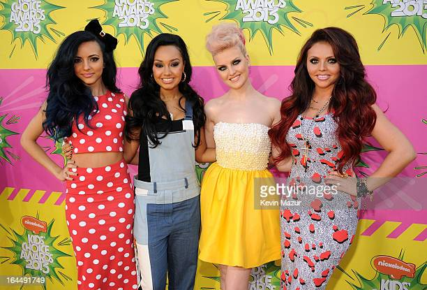 Singers LeighAnne Pinnock Jade Thirlwall Perrie Edwards and Jesy Nelson of Little Mix arrive at Nickelodeon's 26th Annual Kids' Choice Awards at USC...
