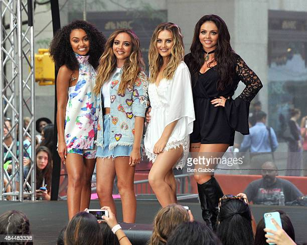 Singers LeighAnne Pinnock Jade Thirlwall Perrie Edwards and Jesy Nelson of Little Mix perform on NBC's 'Today' at Rockefeller Plaza on August 19 2015...