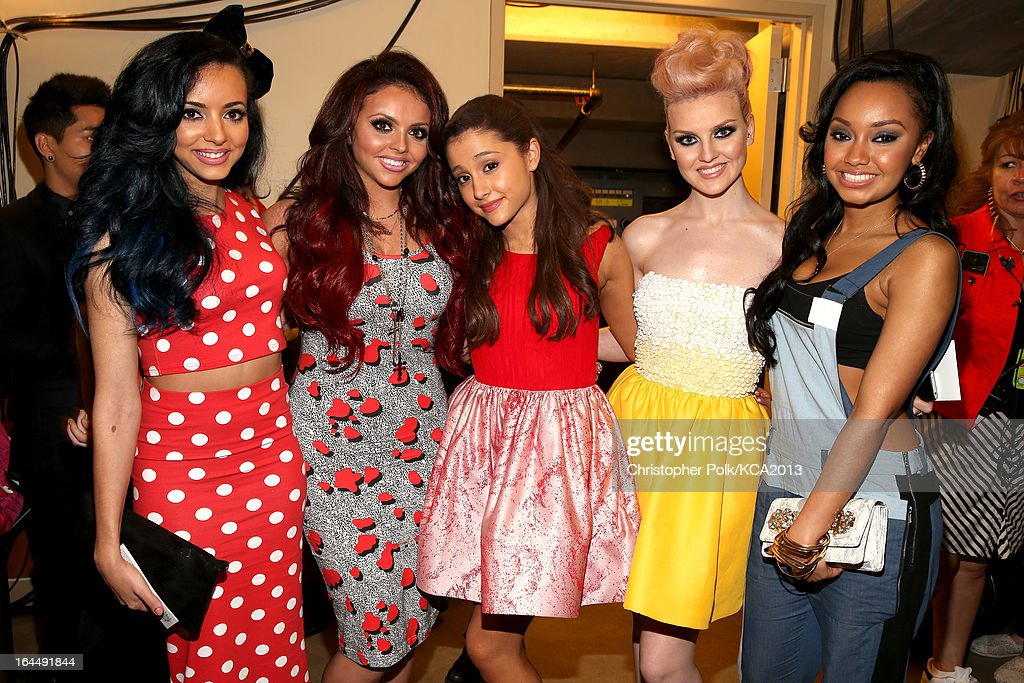 Singers <a gi-track='captionPersonalityLinkClicked' href=/galleries/search?phrase=Leigh-Anne+Pinnock&family=editorial&specificpeople=8378207 ng-click='$event.stopPropagation()'>Leigh-Anne Pinnock</a>, Jesy Nelson, actress <a gi-track='captionPersonalityLinkClicked' href=/galleries/search?phrase=Ariana+Grande&family=editorial&specificpeople=5586219 ng-click='$event.stopPropagation()'>Ariana Grande</a>, singers Perrie Edwards and <a gi-track='captionPersonalityLinkClicked' href=/galleries/search?phrase=Jade+Thirlwall&family=editorial&specificpeople=8378191 ng-click='$event.stopPropagation()'>Jade Thirlwall</a> of Little Mix seen backstage at Nickelodeon's 26th Annual Kids' Choice Awards at USC Galen Center on March 23, 2013 in Los Angeles, California.