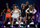Singers LeighAnne Pinnock Perrie Edwards Jesy Nelson and Jade Thirlwall of Little Mix perform onstage during the Teen Choice Awards 2015 at the USC...