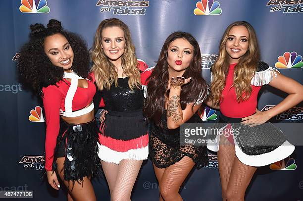 Singers LeighAnne Pinnock Perrie Edwards Jesy Nelson and Jade Thirwall of Little Mix attend 'America's Got Talent' post show red carpet at Radio City...