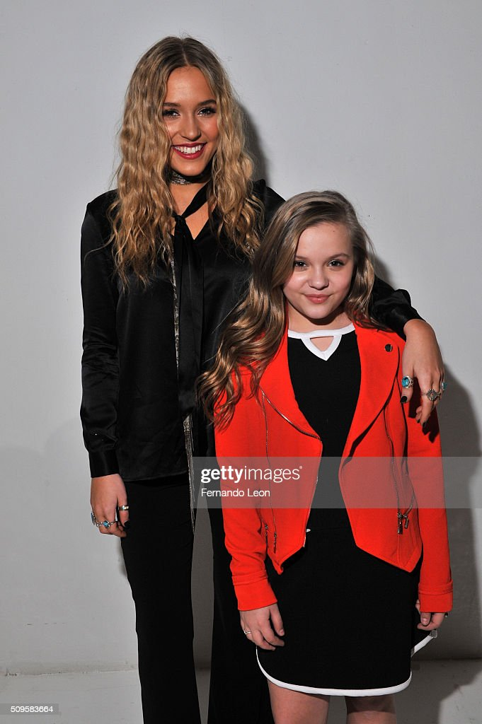 Singers, Lennon Stella and Maisy Stella pose at Jay Godfrey Fall 2016 during New York Fashion Week: The Shows at The Space, Skylight at Clarkson Square on February 11, 2016 in New York City.