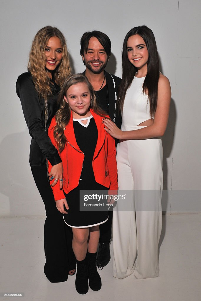 Singers, Lennon Stella, Maisy Stella, Designer Jay Godfrey and Actress <a gi-track='captionPersonalityLinkClicked' href=/galleries/search?phrase=Bailee+Madison&family=editorial&specificpeople=4136620 ng-click='$event.stopPropagation()'>Bailee Madison</a> pose at Jay Godfrey Fall 2016 during New York Fashion Week: The Shows at The Space, Skylight at Clarkson Square on February 11, 2016 in New York City.