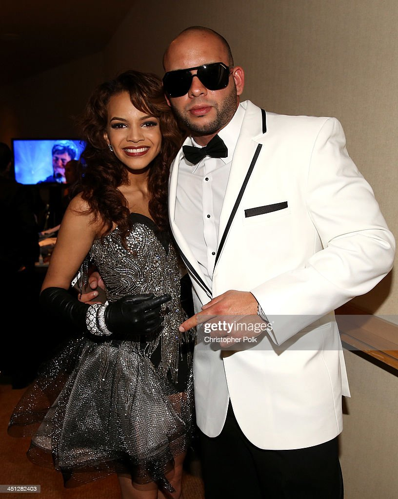 Singers <a gi-track='captionPersonalityLinkClicked' href=/galleries/search?phrase=Leslie+Grace&family=editorial&specificpeople=9567772 ng-click='$event.stopPropagation()'>Leslie Grace</a> and Sessino pose backstage during the 14th Annual Latin GRAMMY Awards held at the Mandalay Bay Events Center on November 21, 2013 in Las Vegas, Nevada.