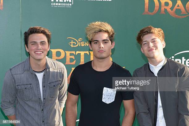 Singers Liam Attridge Emery Kelly and Ricky Garcia of Forever In Your Mind attend the world premiere of Disney's 'Pete's Dragon at the El Capitan...