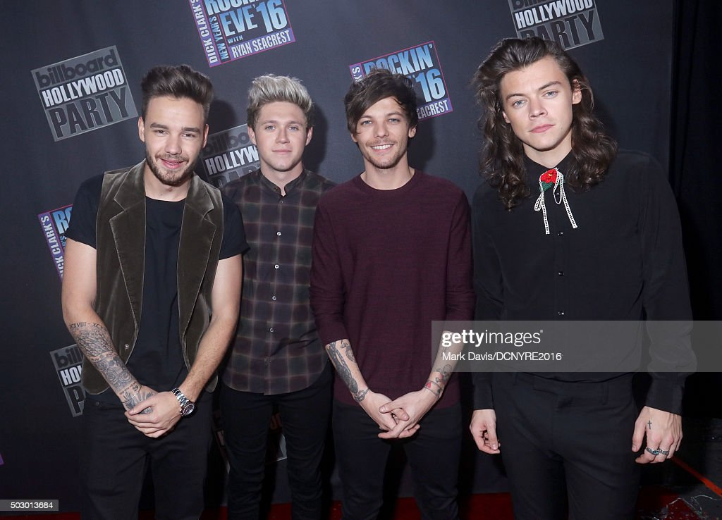 Singers Liam Payne, Niall Horan, Louis Tomlinson and Harry Styles of One Direction attend Dick Clark's New Year's Rockin' Eve with Ryan Seacrest 2016 on December 31, 2015 in Los Angeles, CA.