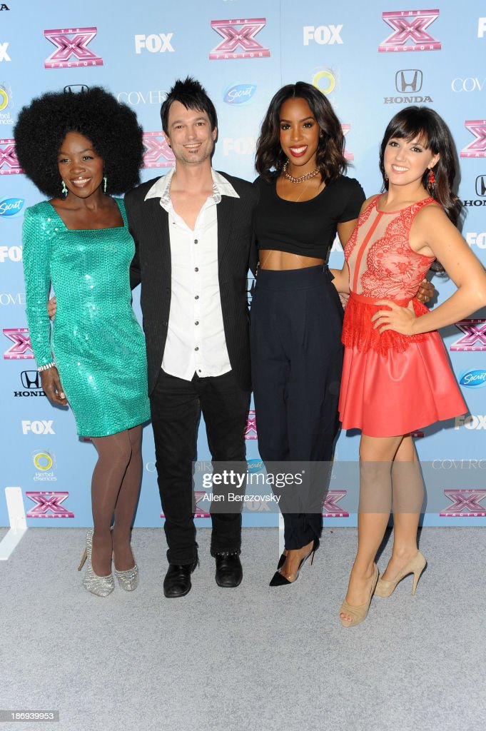 Singers Lillie McCloud, Jeff Gutt, <a gi-track='captionPersonalityLinkClicked' href=/galleries/search?phrase=Kelly+Rowland&family=editorial&specificpeople=201760 ng-click='$event.stopPropagation()'>Kelly Rowland</a> and Rachel Potter arrive at 'The X Factor' Finalists Party at SLS Hotel on November 4, 2013 in Los Angeles, California.