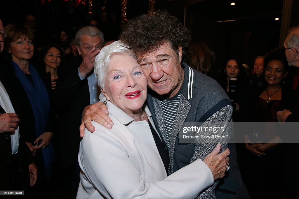 Singers Line Renaud and Robert Charlebois pose after the Robert Charlebois '50 ans 50 chansons' Concert at Bobino on April 11 2016 in Paris France