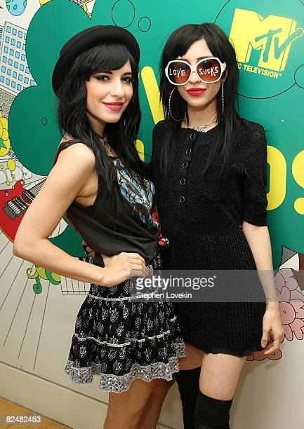 Singers Lisa Origliasso and Jess Origliasso of The Veronicas attend MTV's 'Total Request Live' at MTV studios on August 18 2008 in New York City