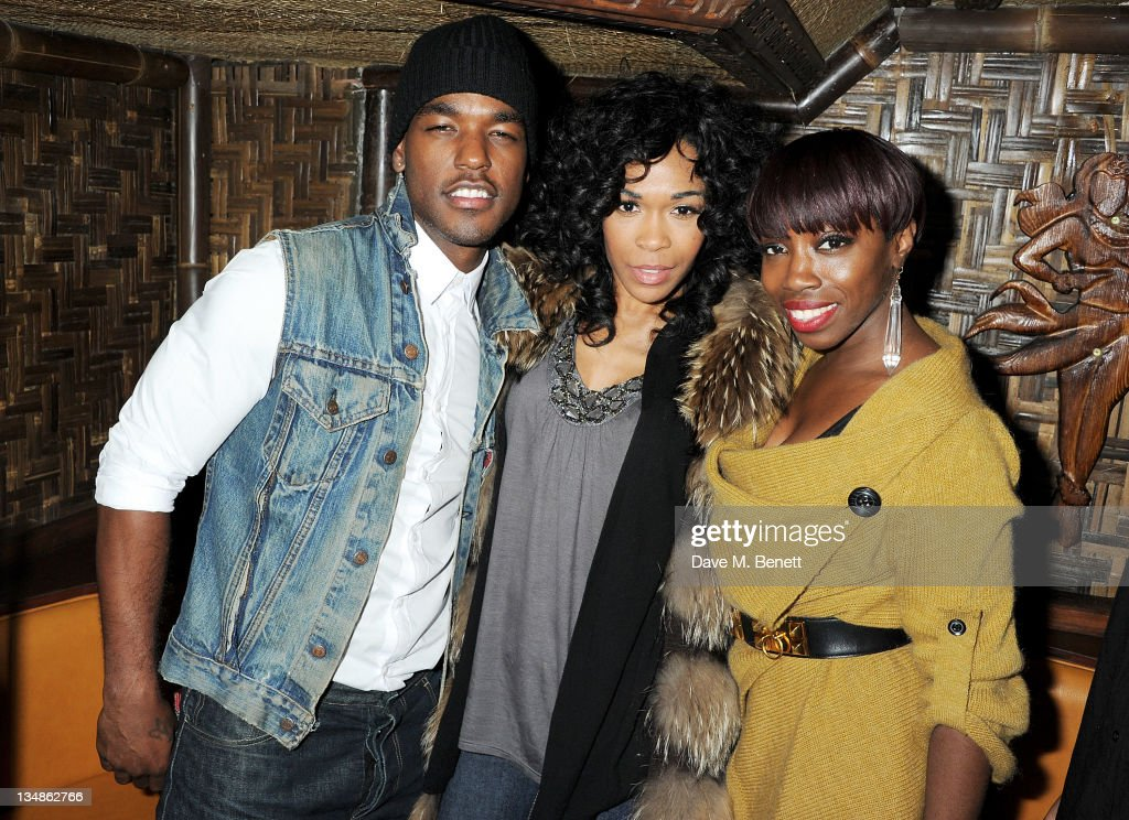 Singers Luke James Michelle Williams and Estelle attend a karaoke party hosted by singer Luke James in the Karaoke Shower Room at Mahiki London on...