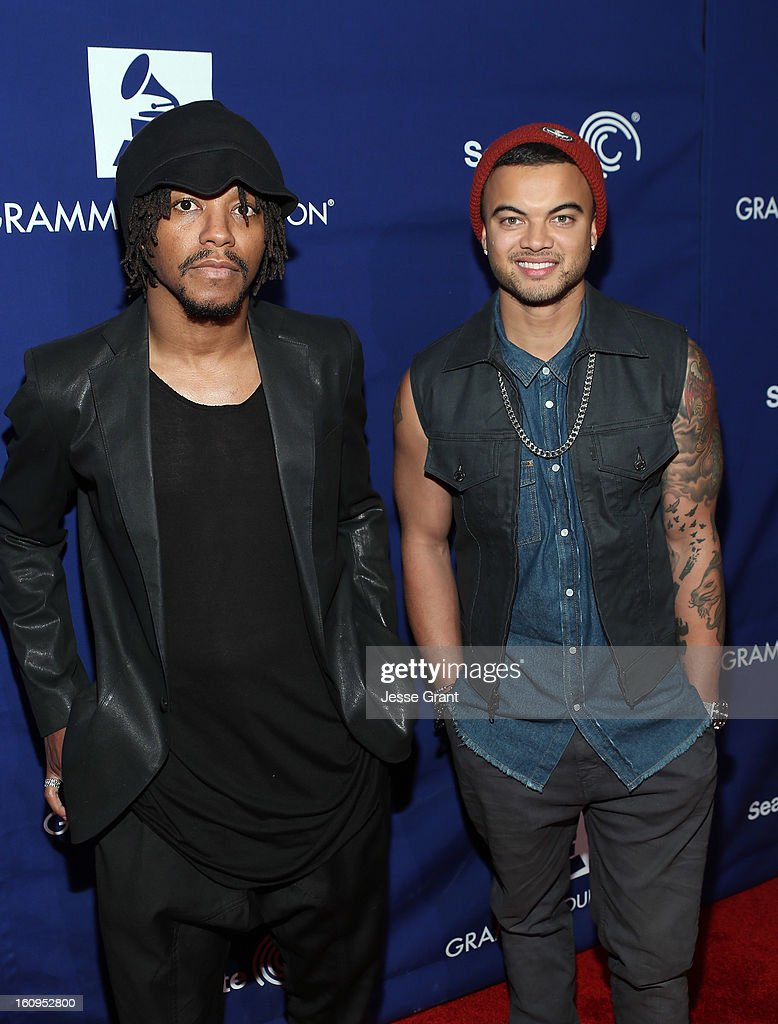 Singers Lupe Fiasco and Guy Sebastian attend The 55th Annual GRAMMY Awards - Music Preservation Project 'Play It Forward' Celebration highlighting The GRAMMY Foundations ongoing work to safegaurd music's history at the Saban Theatre on February 7, 2013 in Los Angeles, California.