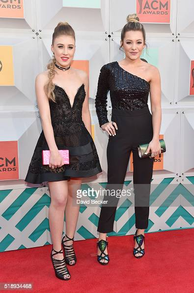 Singers Maddie Marlow and Tae Dye of Maddie Tae attend the 51st Academy of Country Music Awards at MGM Grand Garden Arena on April 3 2016 in Las...