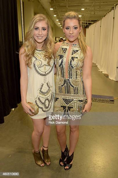 Singers Madison Marlow and Taylor Dye of Maddie Tae attend the 2014 American Country Countdown Awards at Music City Center on December 15 2014 in...