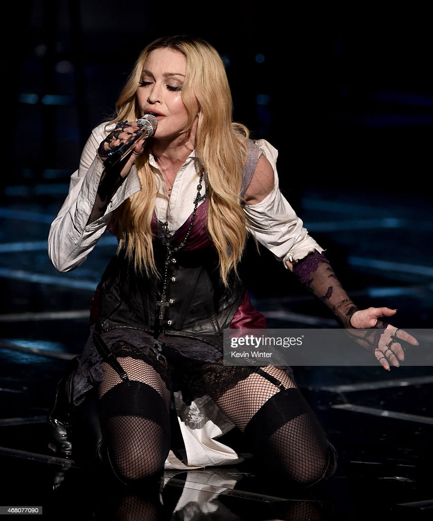 Singers Madonna performs 'Ghost Town' onstage during the 2015 iHeartRadio Music Awards which broadcasted live on NBC from The Shrine Auditorium on...