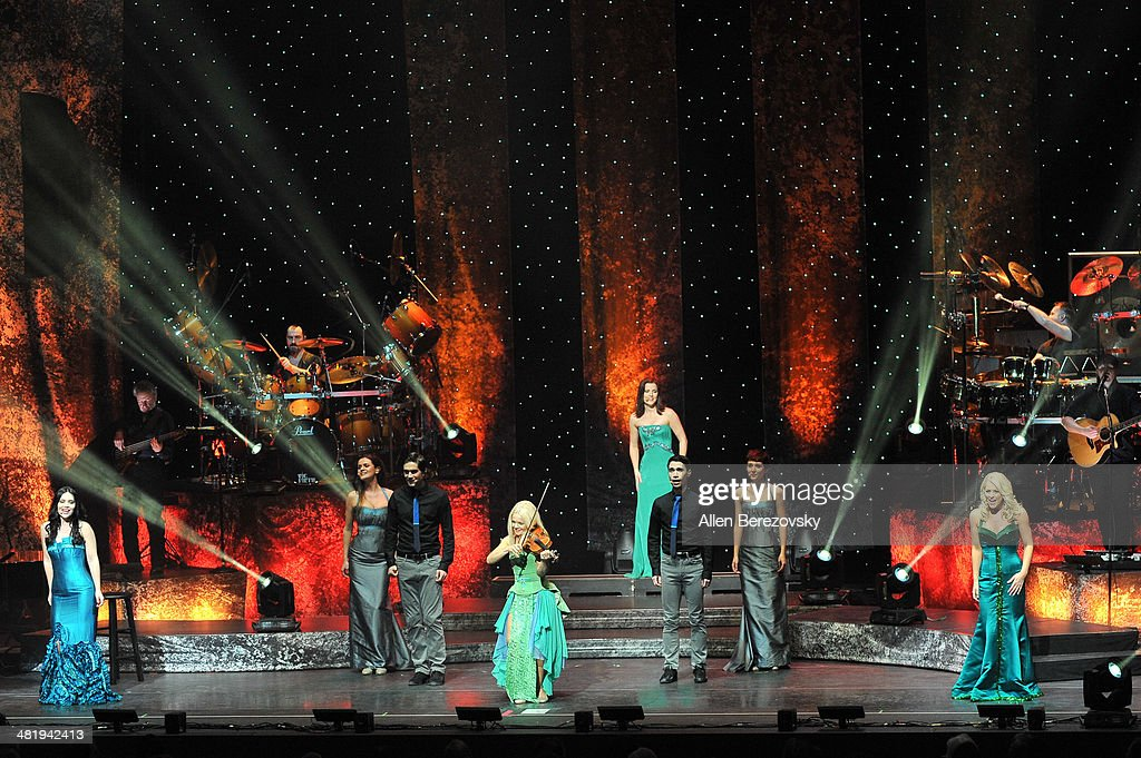 Singers Mairead Carlin, Mairead Nesbitt, Lynn Hilary and Susan McFadden of Celtic Woman perform during 'The Emerald Tour' concert at Segerstrom Center For The Arts on April 1, 2014 in Costa Mesa, California.