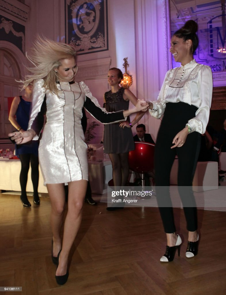Singers Mandy Capristo (L) and Senna Guemmour of the group Monrose attend the Movie Meets Media 10th Anniversary event on December 07, 2009 in Hamburg, Germany.