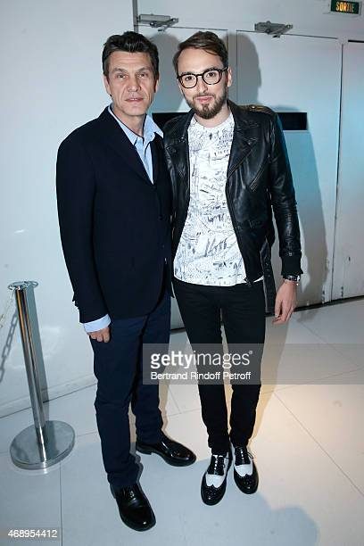 Singers Marc Lavoine and Christophe Willem attend the 'Vivement Dimanche' French TV Show at Pavillon Gabriel on April 8 2015 in Paris France