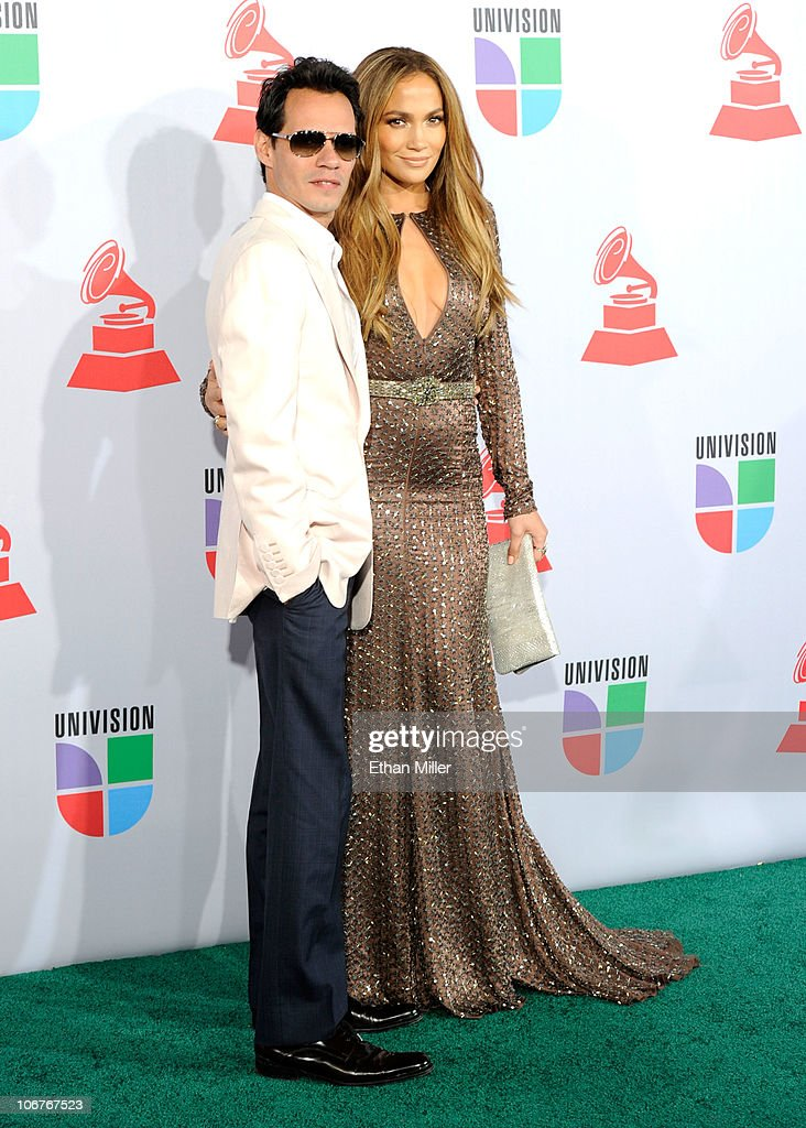 Singers Mark Anthony (L) and <a gi-track='captionPersonalityLinkClicked' href=/galleries/search?phrase=Jennifer+Lopez&family=editorial&specificpeople=201784 ng-click='$event.stopPropagation()'>Jennifer Lopez</a> arrive at the 11th annual Latin GRAMMY Awards at the Mandalay Bay Resort & Casino on November 11, 2010 in Las Vegas, Nevada.