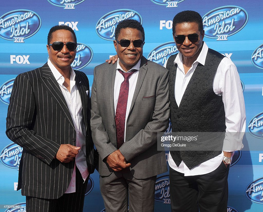 Singers Marlon Jackson, Tito Jackson and Jackie Jackson of The Jacksons arrive at the 'American Idol' XIV Grand Finale at the Dolby Theatre on May 13, 2015 in Hollywood, California.