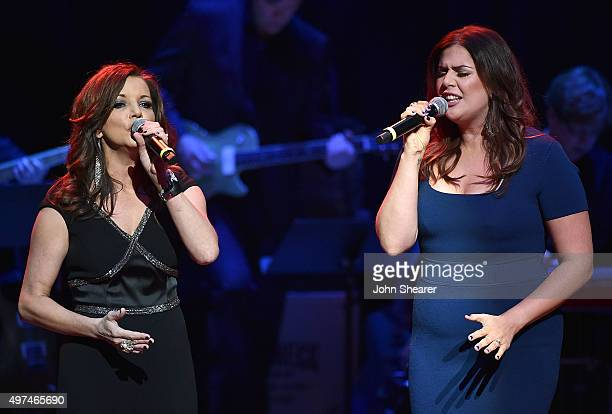 Singers Martina McBride left and Hillary Scott perform at the Leadership Music's Dale Franklin Awards at Country Music Hall of Fame and Museum on...