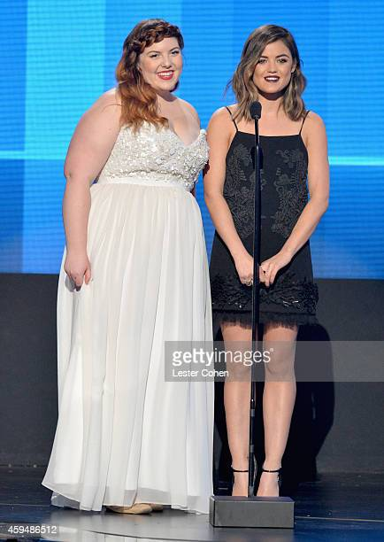 Singers Mary Lambert and Lucy Hale speak onstage at the 2014 American Music Awards at Nokia Theatre LA Live on November 23 2014 in Los Angeles...