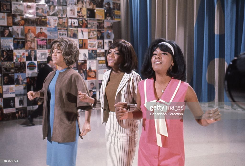 Singers Mary Wilson Florence Ballard and Diana Ross of the R and B Group 'The Supremes' rehearse for their performance on the TV show Hullabaloo 0n...