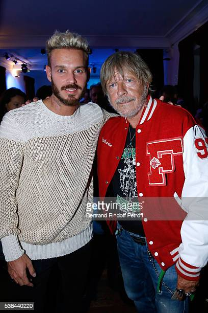 Singers Matt Pokora alias M Pokora and Renaud Sechan attend the Concert of Patrick Bruel at Theatre Du Chatelet on June 6 2016 in Paris France