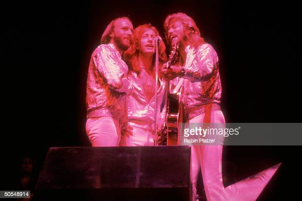 Singers Maurice Robin and Barry Gibb of family musical group the Bee Gees performing