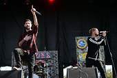 Singers Michael Bohn and Tyler Carter of Issues perform onstage at Gibson Ranch County Park on October 25 2015 in Sacramento California