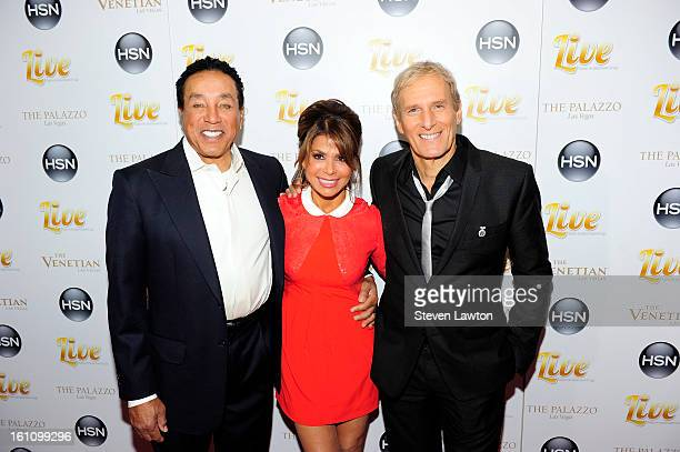 Singers Michael Bolton Paula Abdul and Smokey Robinson arrive at the HSN Live Michael Bolton concert at The Venetian Resort Hotel Casino on February...