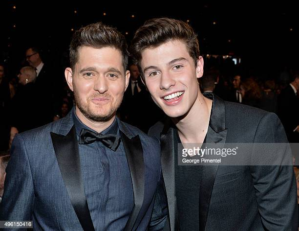 Singers Michael Buble and Shawn Mendes attend the 2015 Canada's Walk Of Fame Awards at the Sony Centre for the Performing Arts on November 7 2015 in...