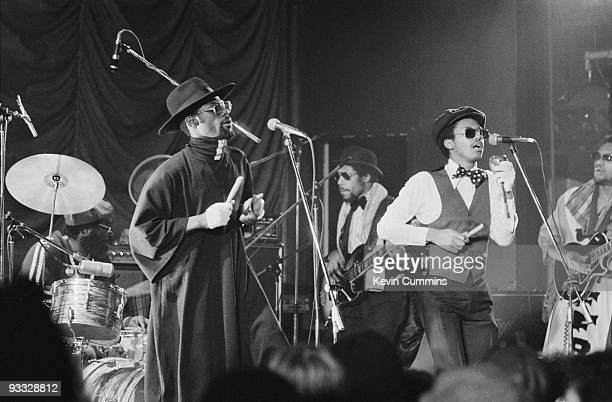 Singers Michael Riley and David Hinds of English reggae band Steel Pulse perform on stage at the Belle Vue in Manchester on November 14 1977