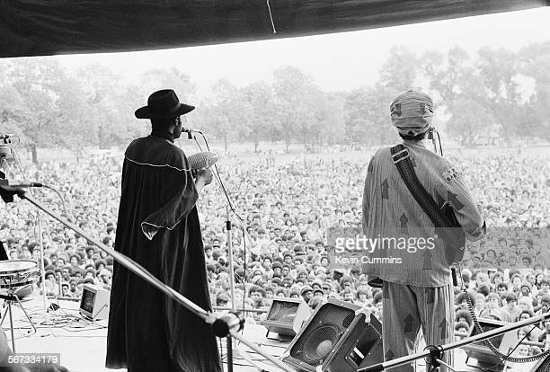 Singers Michael Riley and David Hinds performing with English roots reggae band Steel Pulse at the Northern Rock Against Racism Festival in Alexandra...