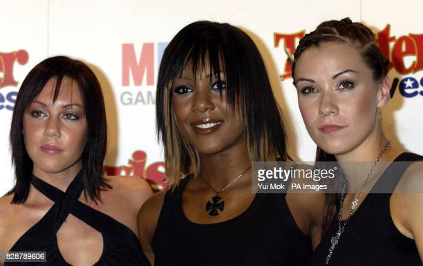 Singers Michelle Heaton Kelli Young and Jessica Taylorfrom Liberty X at the launch of the new game Twister Moves held at the Cc Club in central...