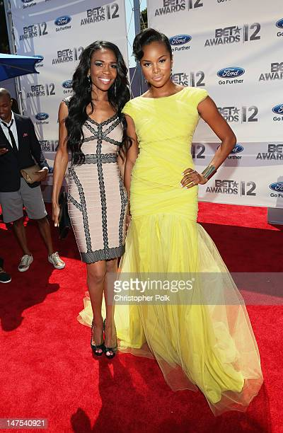 Singers Michelle Williams and Letoya Luckett arrive at the 2012 BET Awards at The Shrine Auditorium on July 1 2012 in Los Angeles California