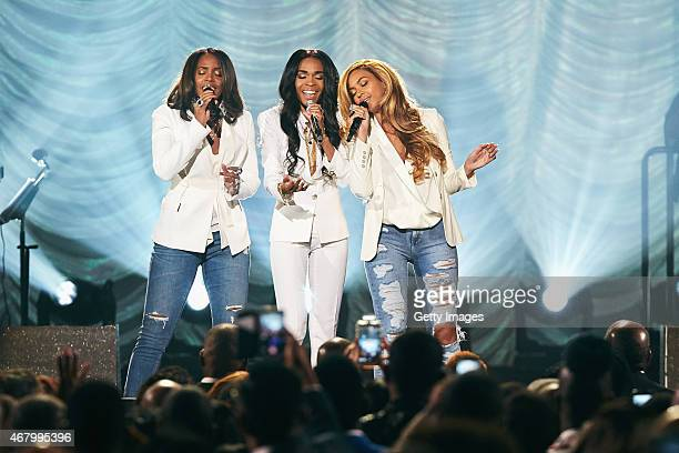 Singers Michelle Williams Kelly Rowland and Beyonce performing 'Say Yes' during the 30th Annual Stellar Awards at the Orleans Arena on March 28 2015...