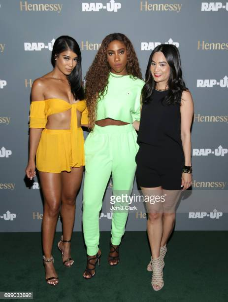 Singers Mila J and Sevyn Streeter pose with ThuyAnh J Nguyen Hennessy West Coast Marketing Manager at the RapUp 3rd Annual PreBET Awards Dinner...