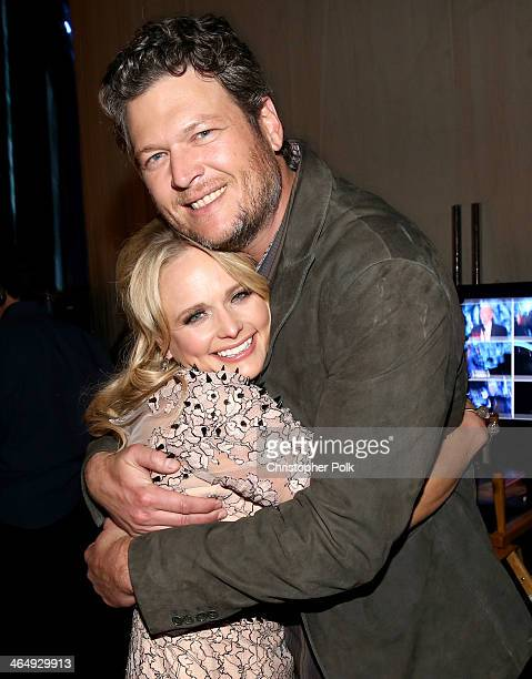 Singers Miranda Lambert and Blake Shelton attend 2014 MusiCares Person Of The Year Honoring Carole King at Los Angeles Convention Center on January...