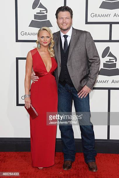 Singers Miranda Lambert and Blake Shelton attend the 56th GRAMMY Awards at Staples Center on January 26 2014 in Los Angeles California