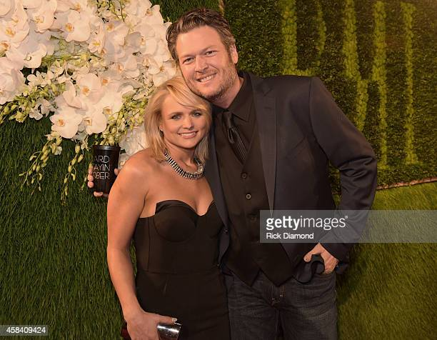 Singers Miranda Lambert and Blake Shelton attend the BMI 2014 Country Awards at BMI on November 4 2014 in Nashville Tennessee