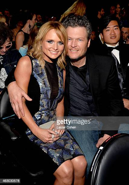 Singers Miranda Lambert and Blake Shelton during The 57th Annual GRAMMY Awards at the STAPLES Center on February 8 2015 in Los Angeles California