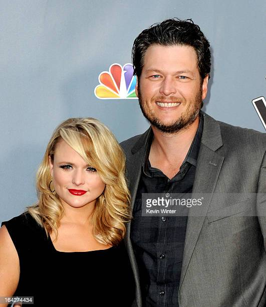 Singers Miranda Lambert and her husband Blake Shelton arrive at a screening of NBC's 'The Voice' Season 4 at the Chinese Theatre on March 20 2013 in...